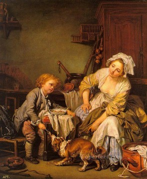 oil Works - The Spoiled Child figure Jean Baptiste Greuze
